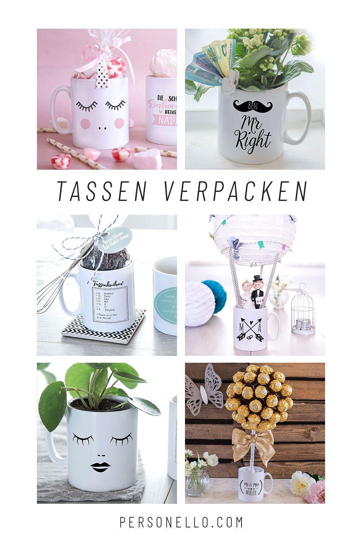 Einzigartige Geschenkidee Tassen Verpacken Mit Zahlreichen Motiven Und Mit Tollen Collagen Selbst Diy Geschenke Selber Machen Geschenke Diy Hochzeitsgeschenk