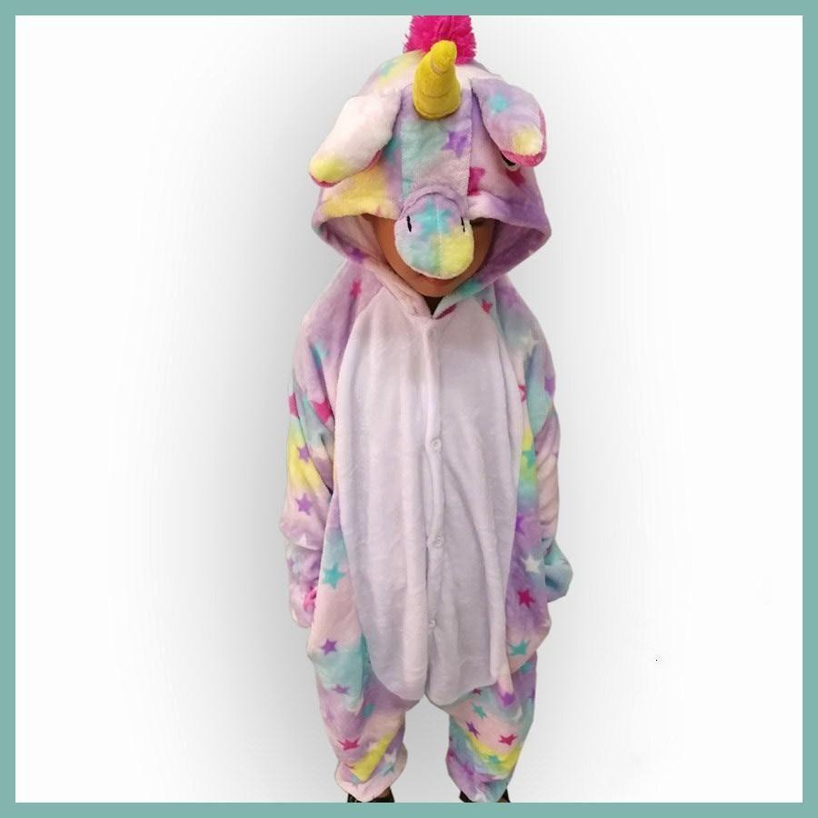 girls cute colored stars unicorn pajama winter flannel onesie cartoon animal unicorn cosplay costume children pyjamas