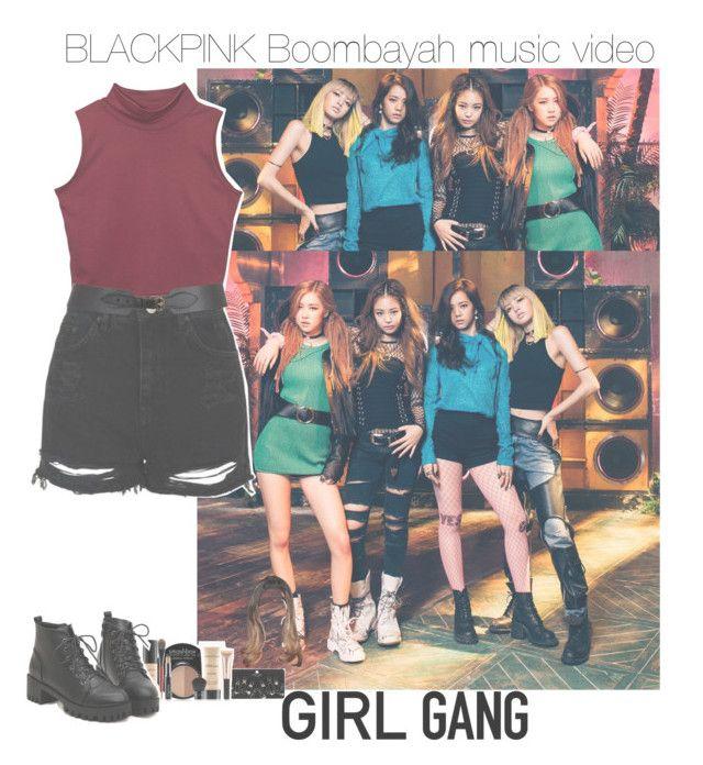 """BlackPink boombayah mv (member)."" by jk-jaylene ❤ liked on Polyvore featuring Topshop, Maison Boinet, Smashbox, cool, Girls, kpop, girlband and BlackPink"