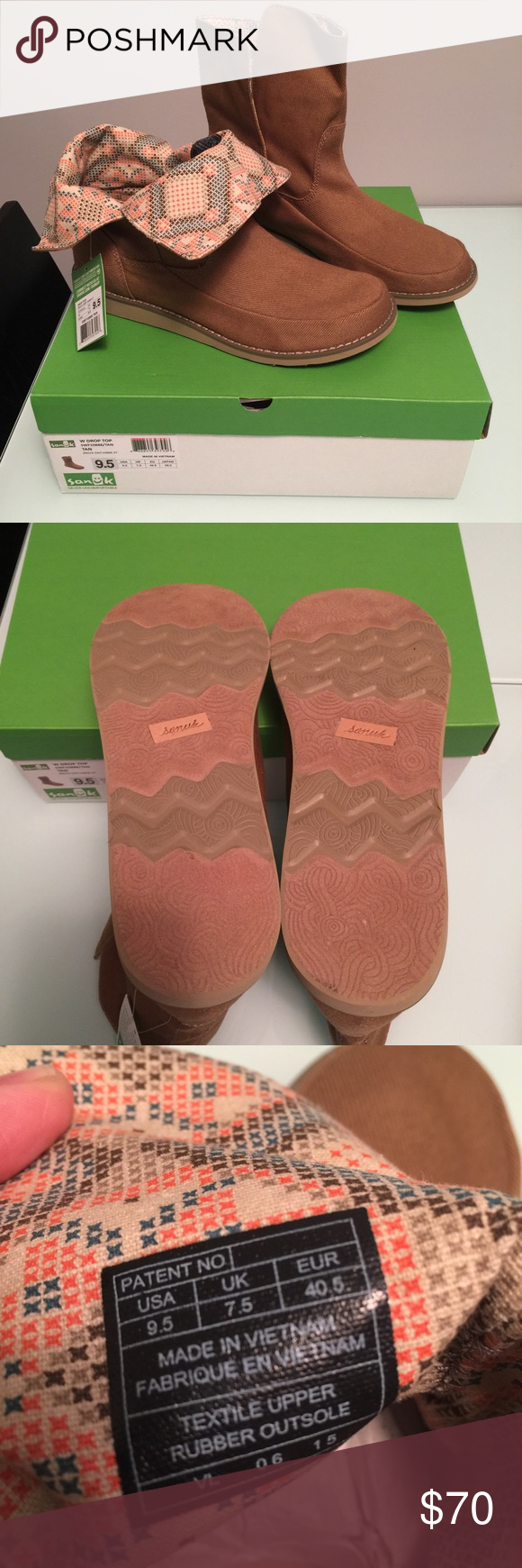 """FINAL PRICE‼️ Sanuk Drop Top Boots Brand New in Box! *PRICE IS FIRM (Reduced from $65)  - Slip On style with Canvas construction - Fold over printed cuff  Approximate Measurements: 5"""" Shaft Height 11"""" Opening Circumference 0.75"""" Heel Sanuk Shoes"""