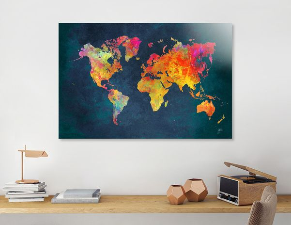 Discover «world map 3», Numbered Edition Aluminum Print by Justyna Jaszke - From $59 - Curioos