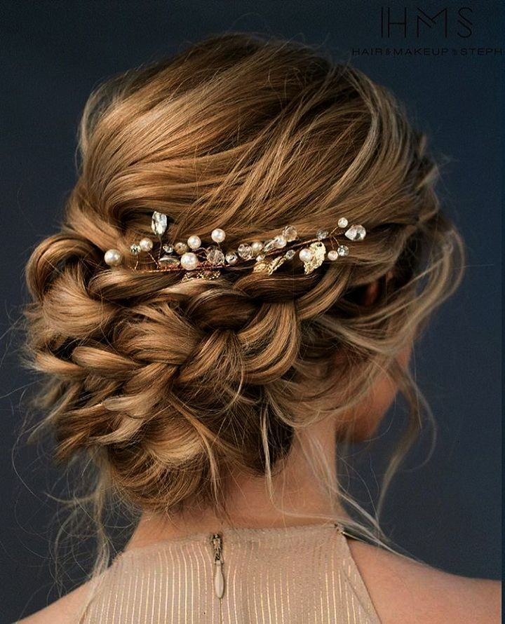 Beautiful loose braided updos bridal hairstyle perfect for