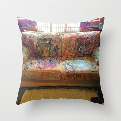 """""""Famous Late Night Painted Sofa"""" - nice, very old Italian Leather Sofa I painted. Throw Pillow by Cave of Doz - $20.00"""