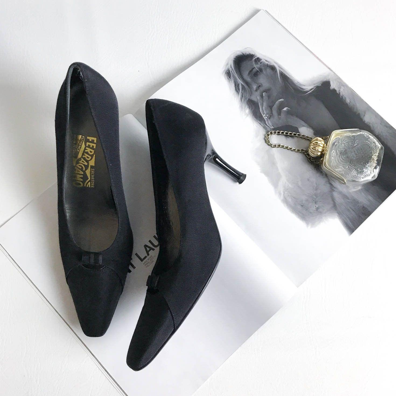 7641dbeda72e7 Vintage Salvatore Ferragamo Black Bow Tie Stiletto Pumps Womens Size ...