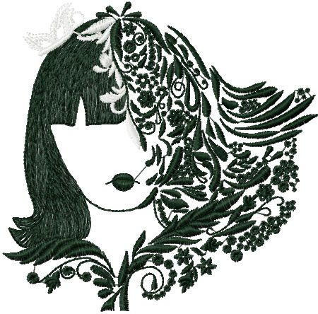 Girl With Flower Free Embroidery Design Style Machine Embroidery
