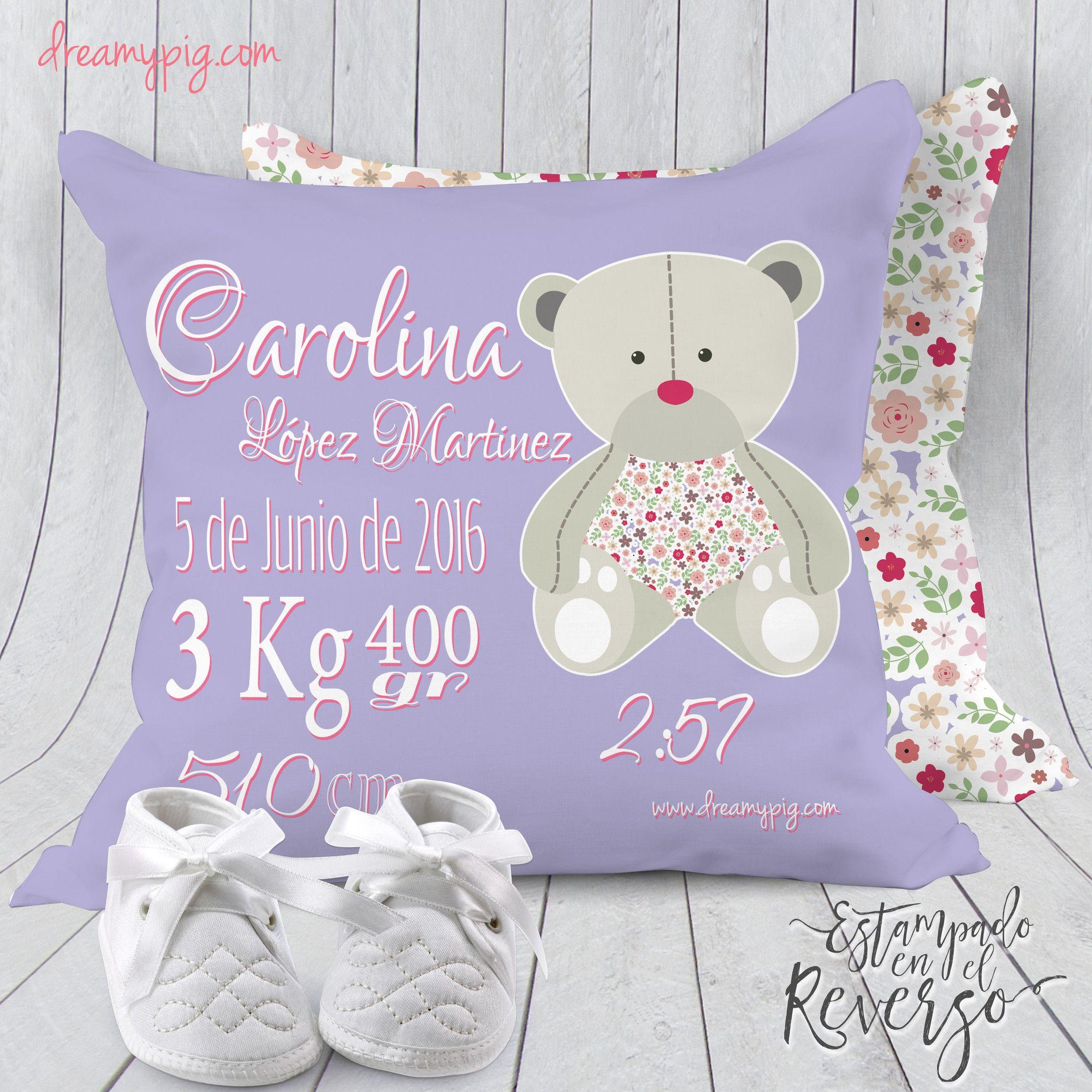 a4471700f Cojín personalizado nacimiento bebé osito en lila 19 x 19 cm – dreamy pig