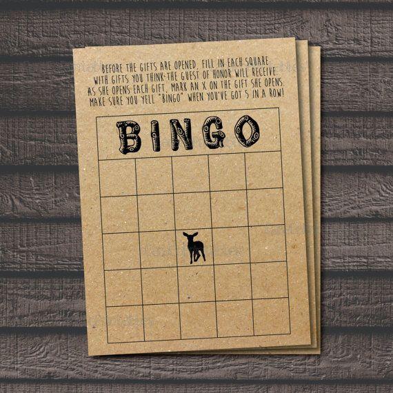 Shower Bingo Woodland Animal Theme Kraft Paper Background Rustic Woodsy