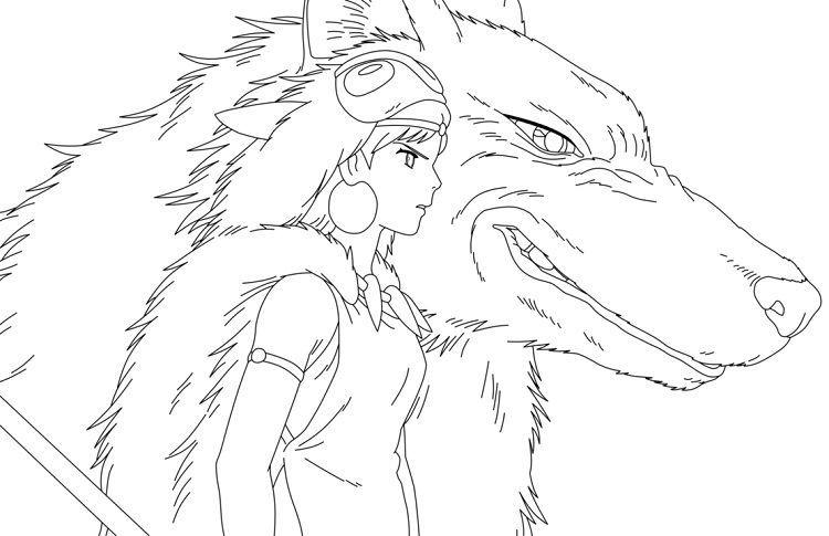 Princess Mononoke Coloring Pages Studio Ghibli Art Princess Mononoke Ghibli Artwork