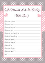Wishes for baby cards pink and gray baby shower for Wishes for baby template printable