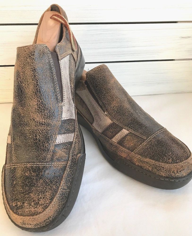 5a1bfdeb7ba3 Steve Madden Brent Mens 9M Distressed Loafers Casual Slip on Shoes Brown  Leather  SteveMaddenMen  LoafersSlipOns