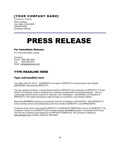 News Release Format Press Release Template Press Release Example Press Release