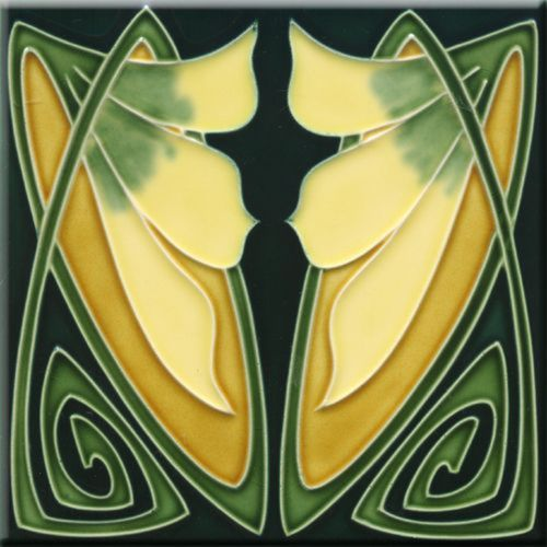 Art Nouveau Ceramic decorative wall tile 4.25 X 4.25 Inches #173 ...