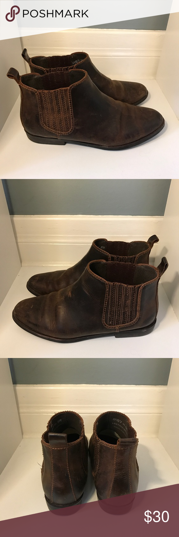 BASS Distressed Leather Botties BASS distressed leather booties.  Worn only a few times.  In good condition. Bass Shoes Ankle Boots & Booties