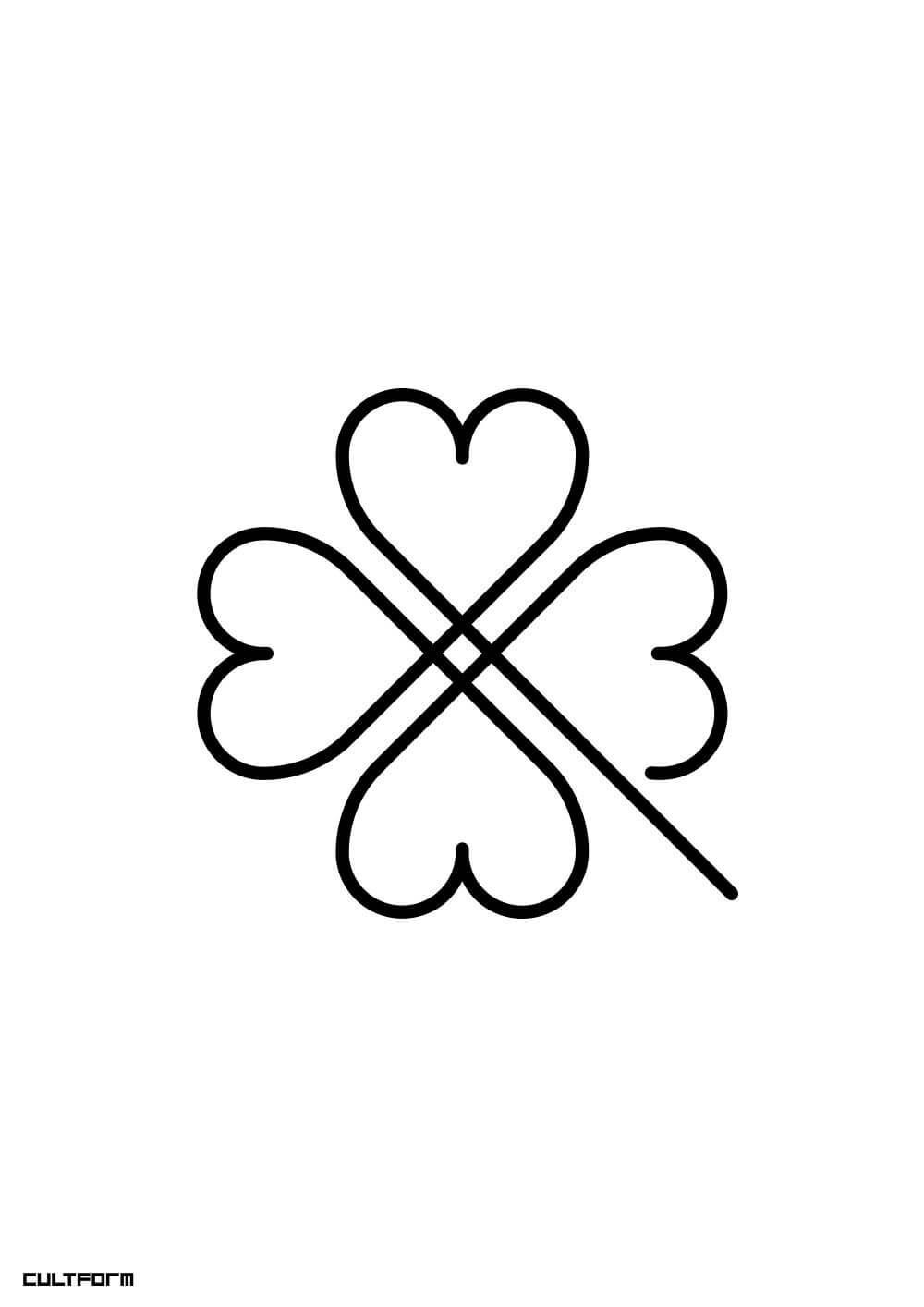 Cultform Download Form Grafik Kleeblatt Linie Zeitlos Zum Gluck In Kleeblatt Grafik Happy New Y Shamrock Tattoos Clover Tattoos Four Leaf Clover Tattoo