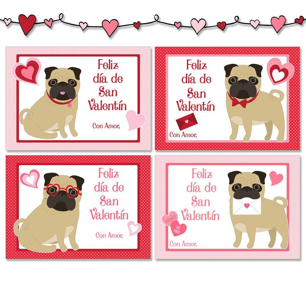 Spanish Set of 16 Personalized Valentine Childrens School