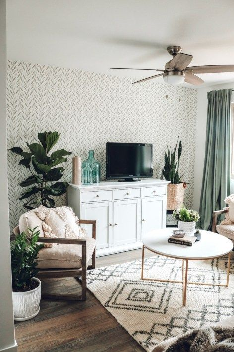 Mini Affordable Living Room Update with Joanna Gaines Wallpaper - Nesting With Grace -   16 sage green living room furniture ideas