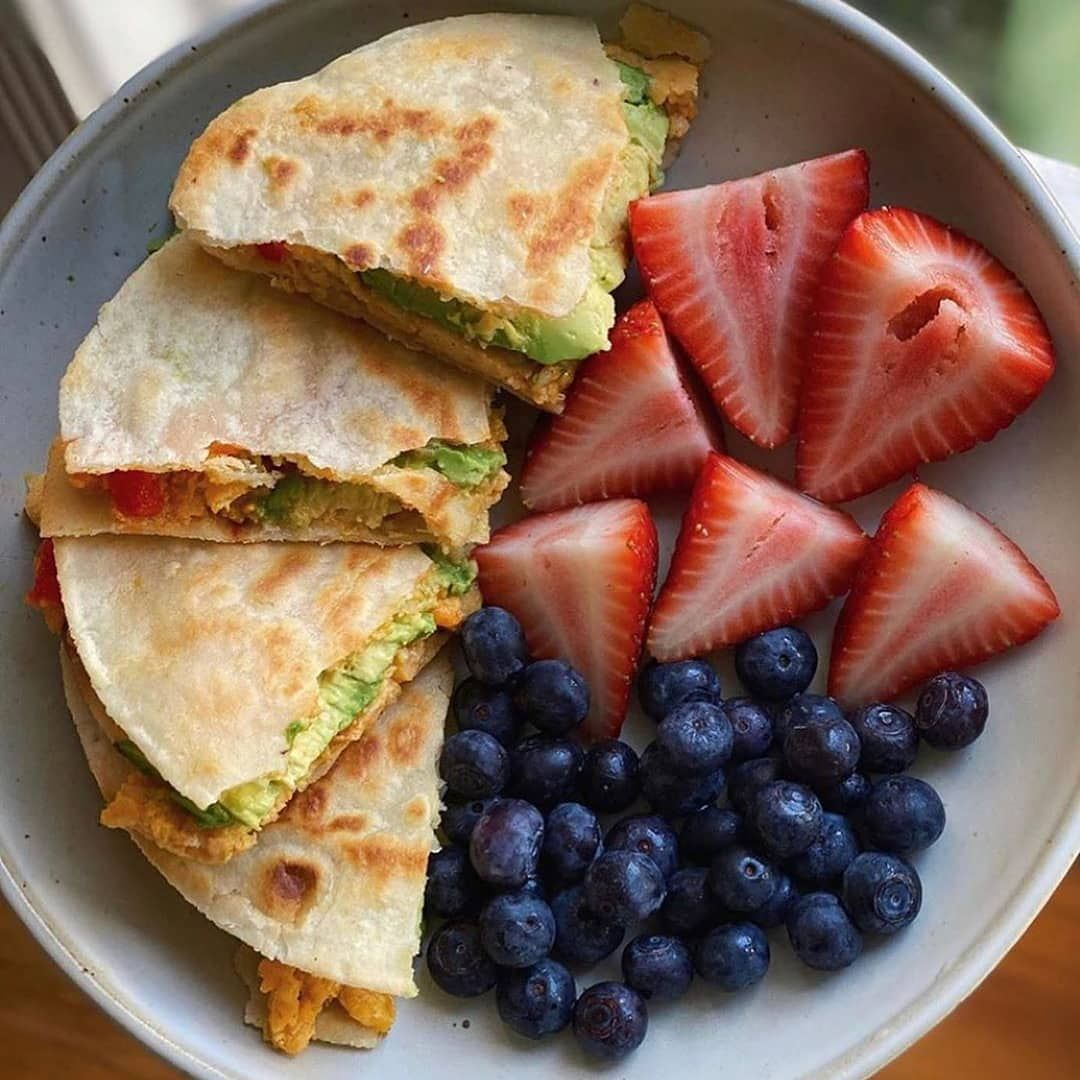 "Photo of Healthy's Instagram profile post: ""Who wants Lunch quesadillas?? 🌯😋 .  Almond flour tortilla filled with dairy-free cheese, avocado, scrambled eggs, garlic-serrano chili…"""