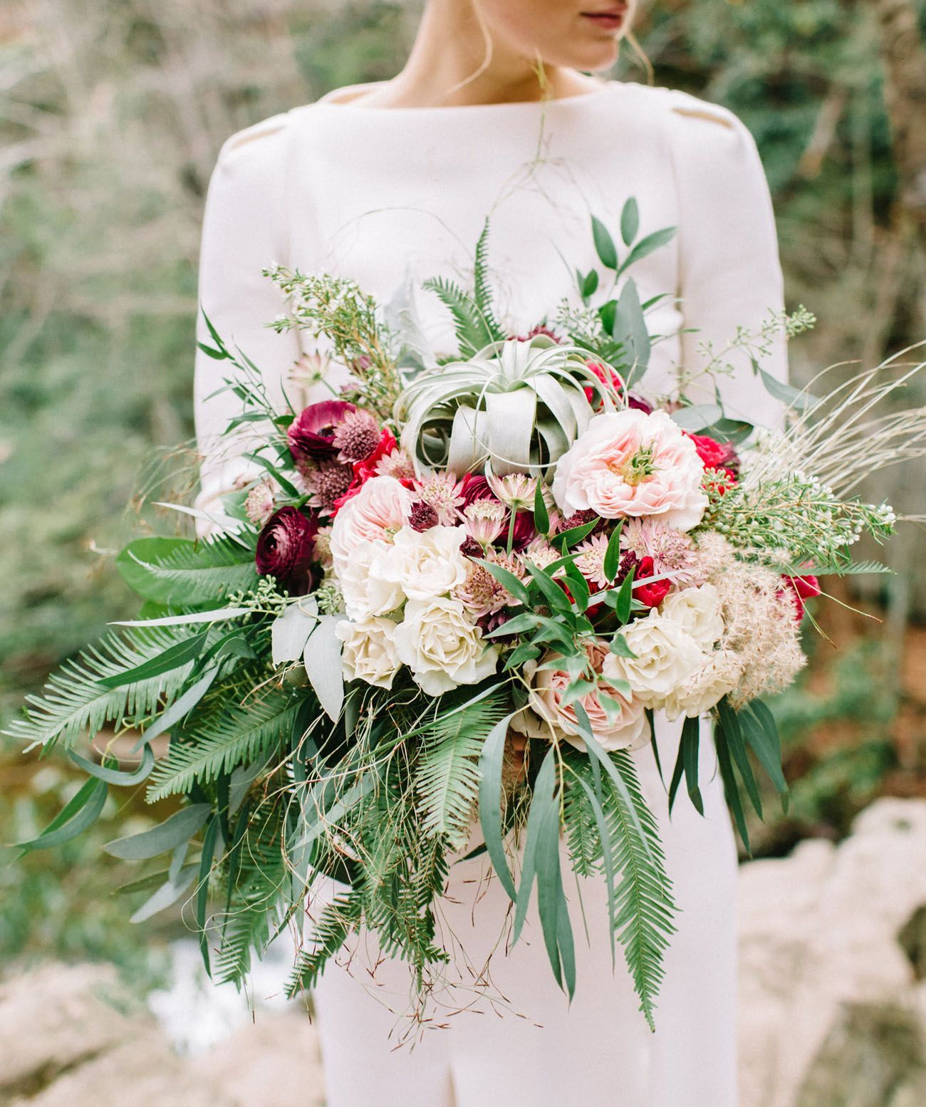 Air plant and fresh flower bridal bouquet | Wedding Shoes ...