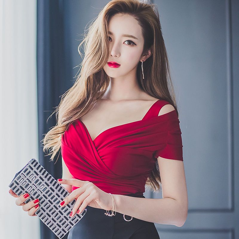 Sexy Shirt Women Slash Neck Lantern Sleeve Slim Bandage Fashion Woman Blouses 2018 Korean Short Summer Top New Women's Clothing