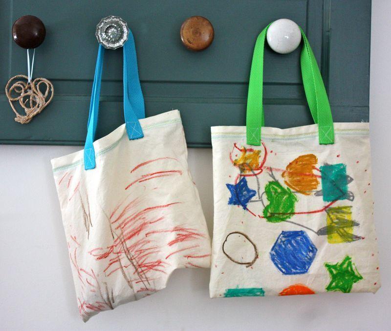 Hand Drawn Fabric Bags Using Craypas Mamas Making