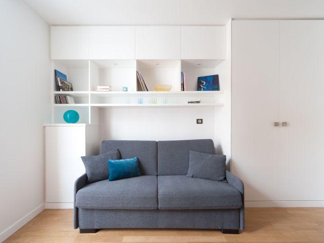 Canape Convertible Et Bibliotheque Petit Studio Decoration Interieure Decoration Petit Appartement