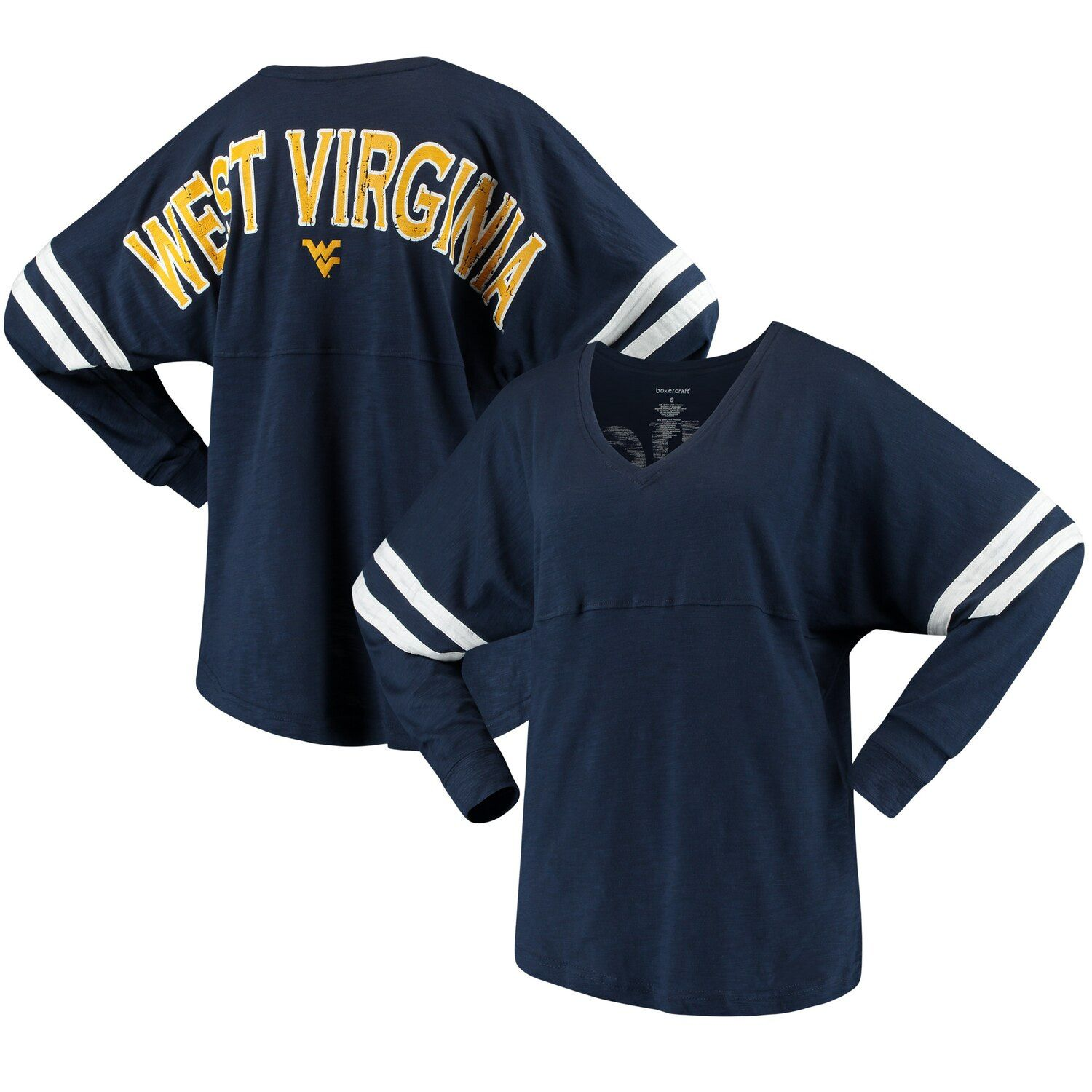 Women's Navy West Virginia Mountaineers Pom Pom V-Neck Long Sleeve T-Shirt #westvirginia