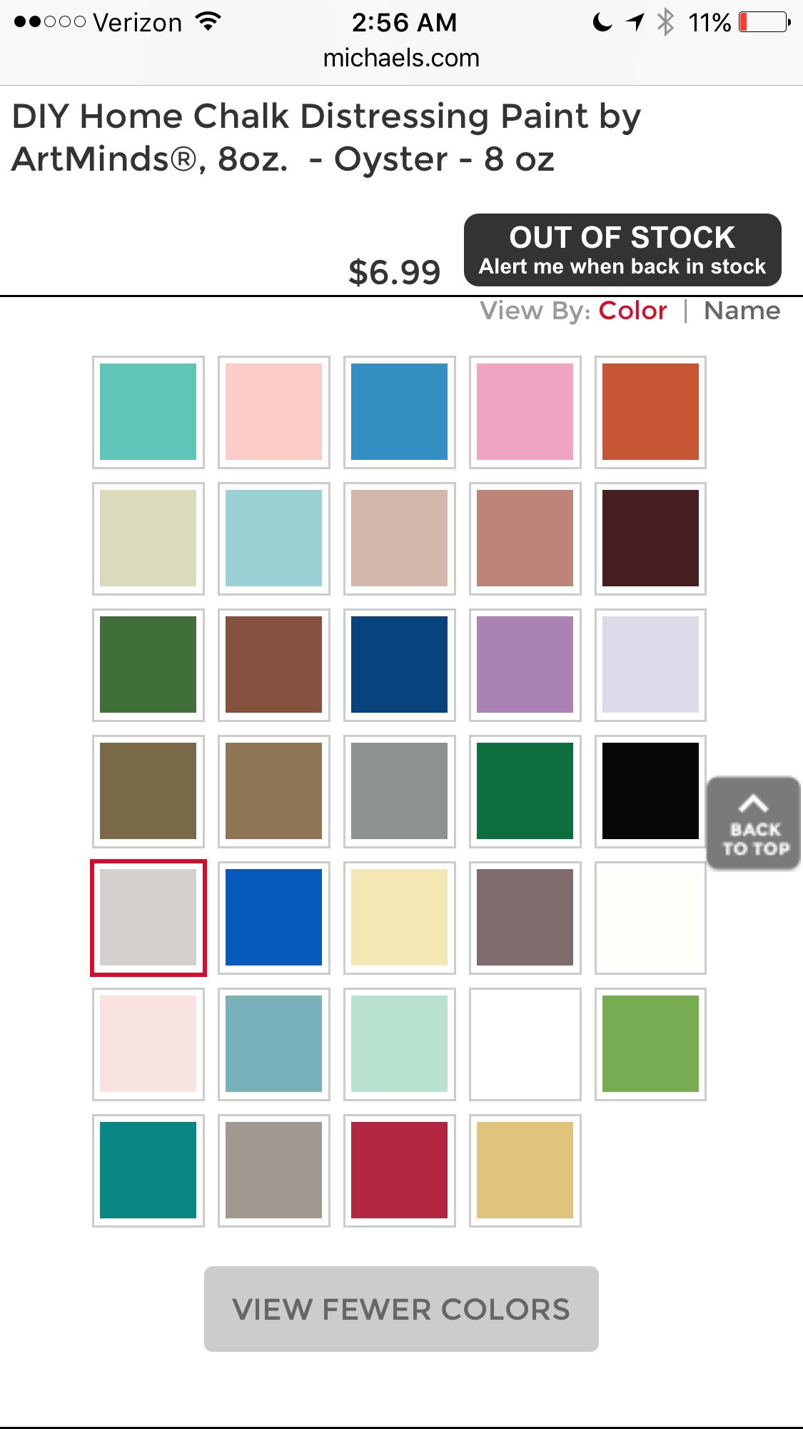 Art Minds Chalk Paint Color Chart