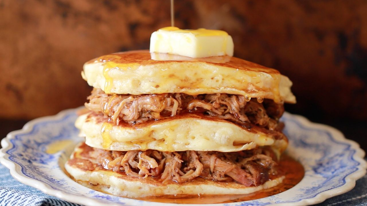 Photo of Pulled Pork Pancakes with Whiskey Maple Sauce