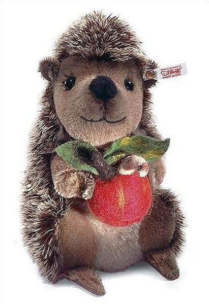 Steiff Sigi the Hedgehog by Steiff  --  Sigi the Hedgehog has over 5000 spines but unlike other hedgehogs he is as soft as can be. Just looking for a friend to share his fruit with!