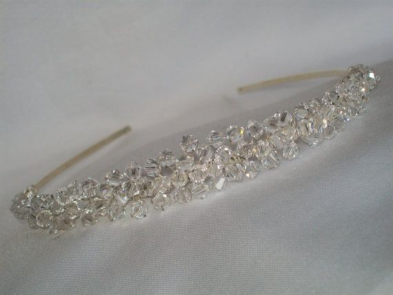 handmade dainty wedding tiara clear  by HelenCurtisTiaras on Etsy, £46.00
