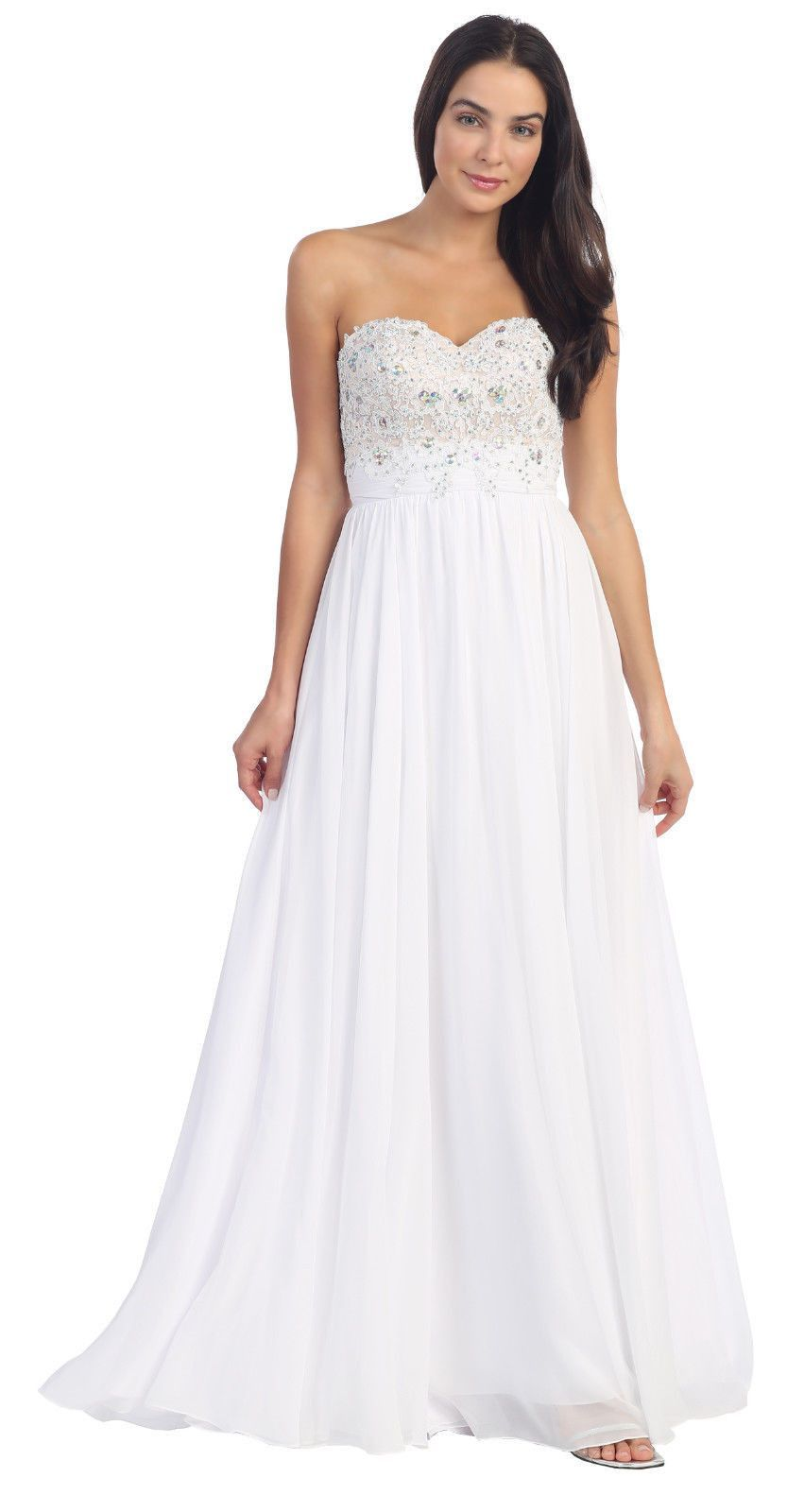 Long Formal Lace Strapless Sweetheart Plus Size Chiffon Gown