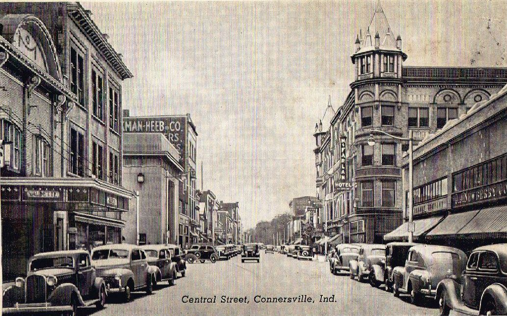 Old View Of Connersville In Downtown Looking South On Central Old Newberry S Store On Right Where My Mother In Law Worked Connersville Indiana Views Downtown