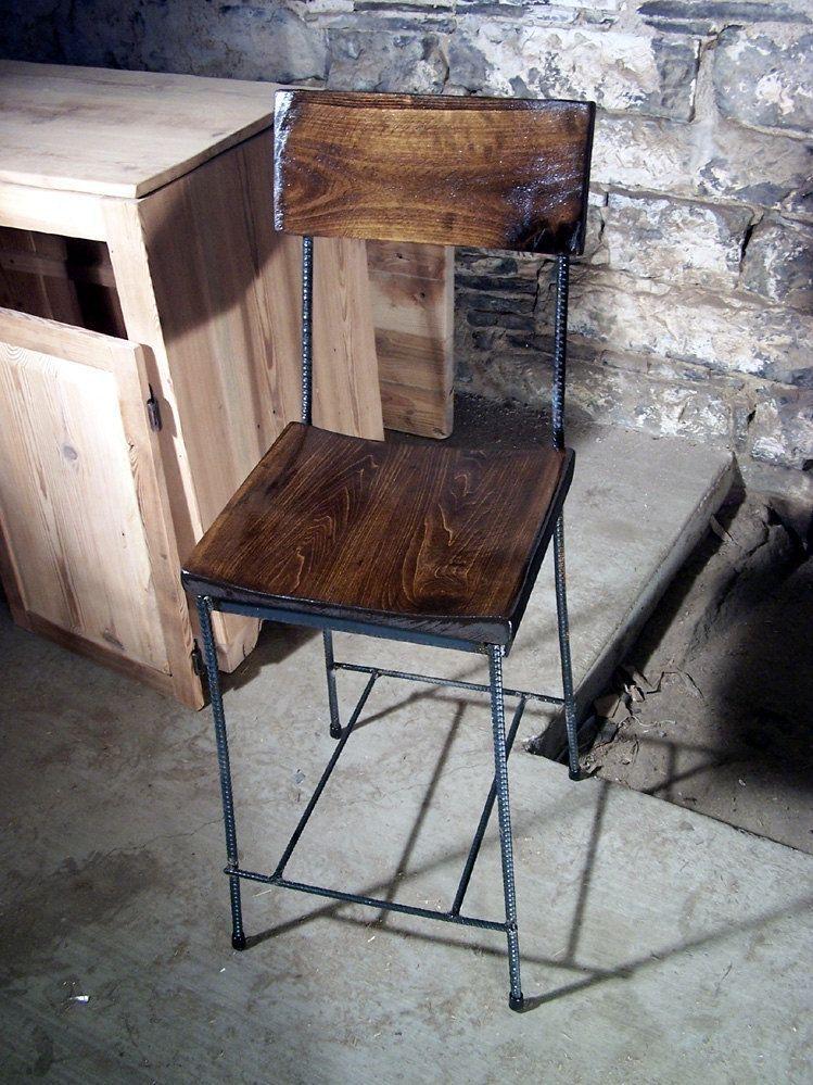 Urban Elegance Scooped Seat Rebar And Reclaimed Wood Bar Stools