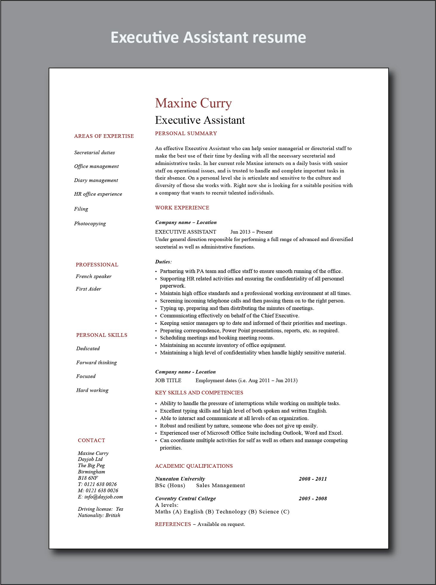 dayjob resume example executive assistant