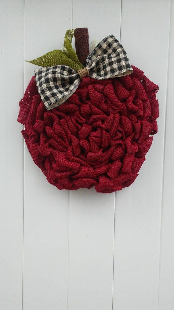 Photo of Apple wreath, red burlap apple wreath, rustic apple wreath, back to school, teacher wreath …