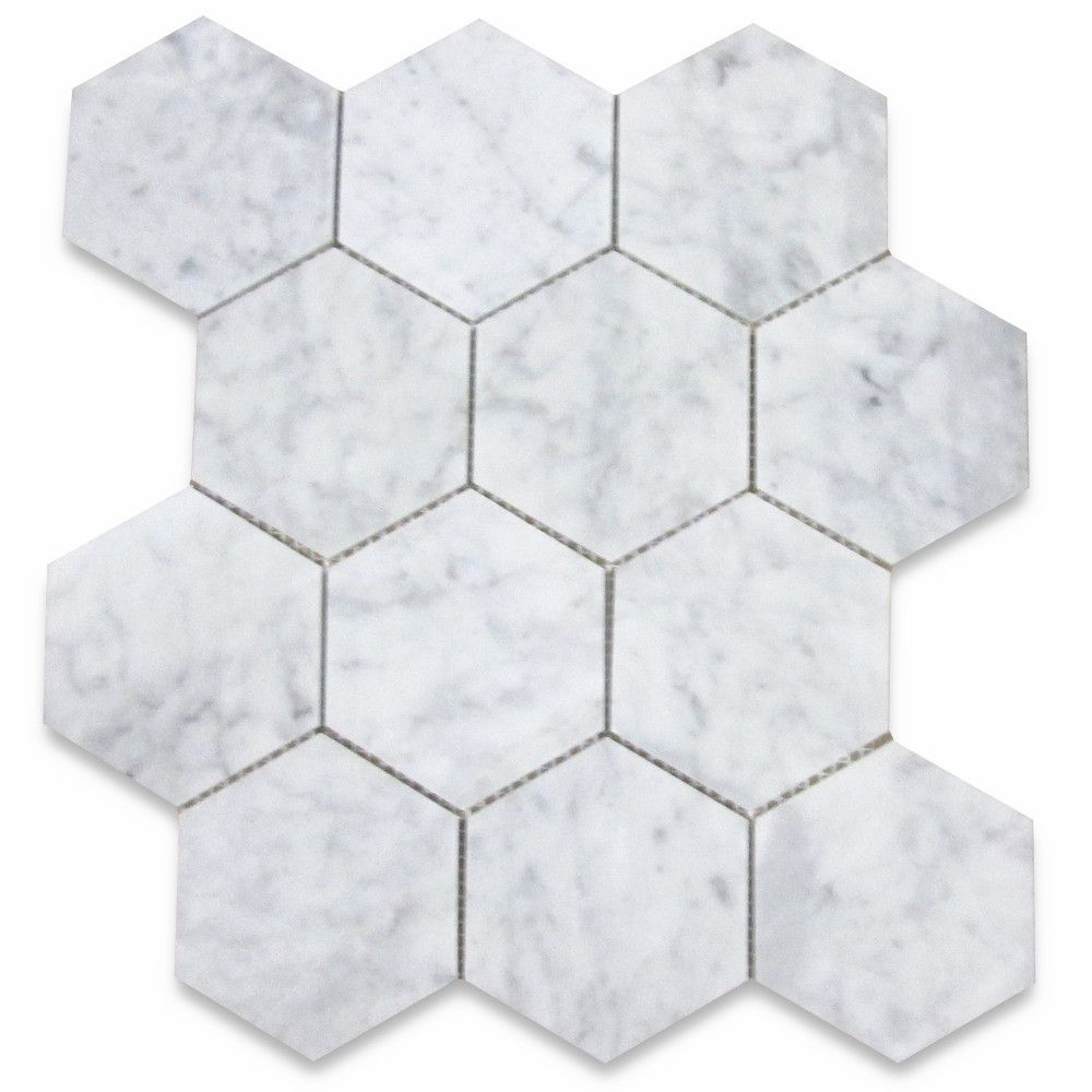 Italian Carrara White Marble 4 Inch Hexagon Mosaic Tile Polished Stone Center Online Hexagon Mosaic Tile Hexagonal Mosaic Carrara