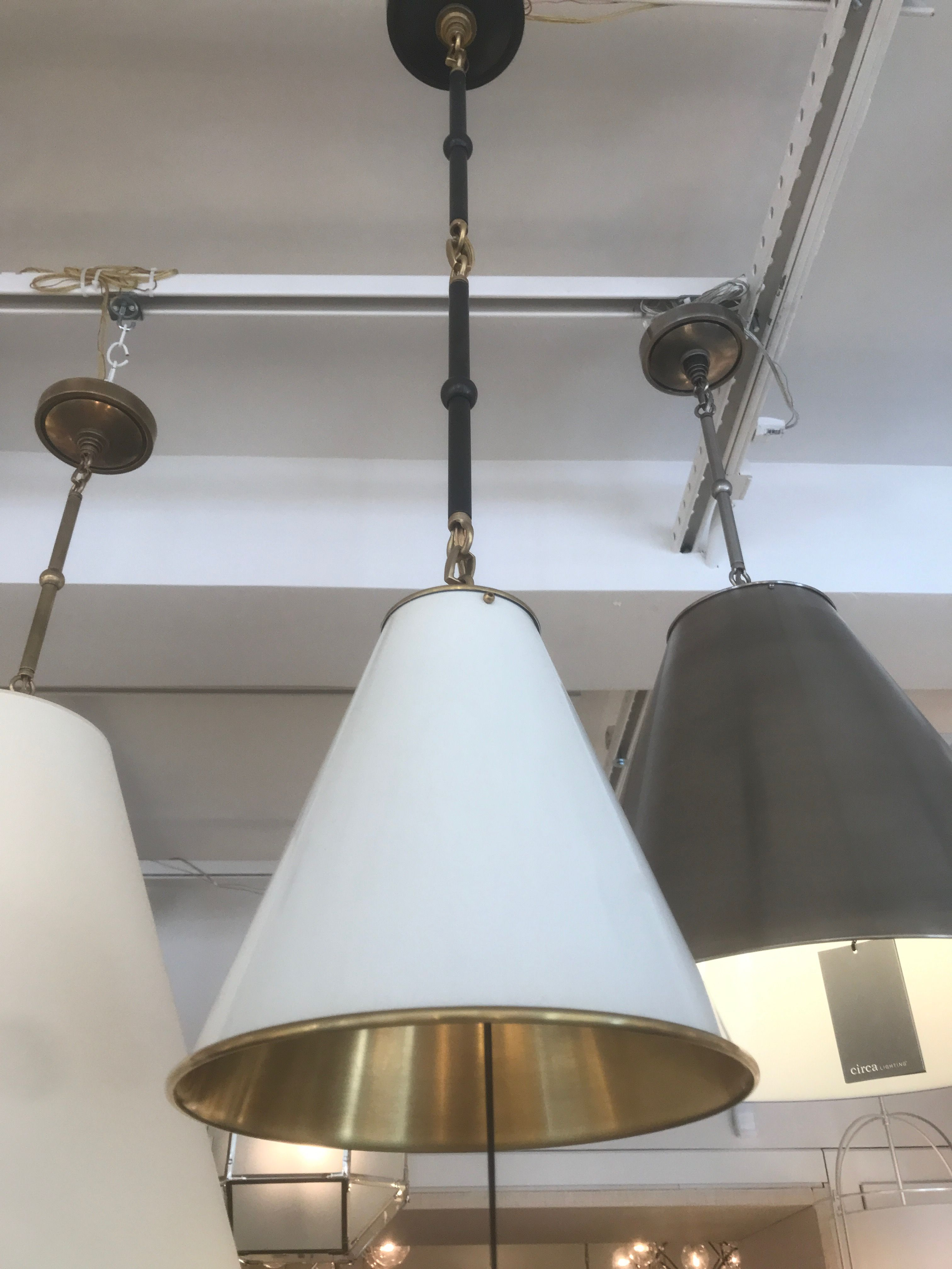 White Black Brass Pendant W Black Hardware On Cabinets