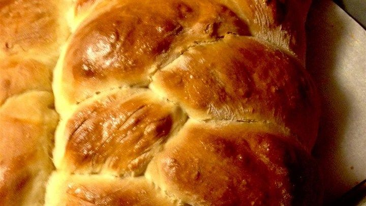 This sweet braided bread is rich with butter and eggs. The recipe makes 6 loaves.