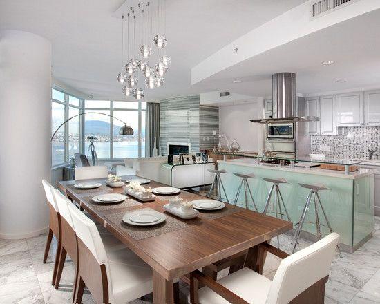 fun light fixture over table  modern kitchen dining