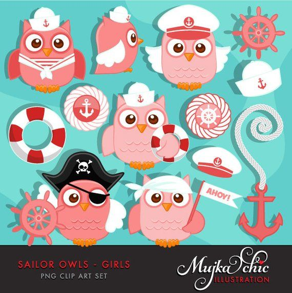 Cute Sailor Owls Girls Clipart. Sailing Owls in Captain ...