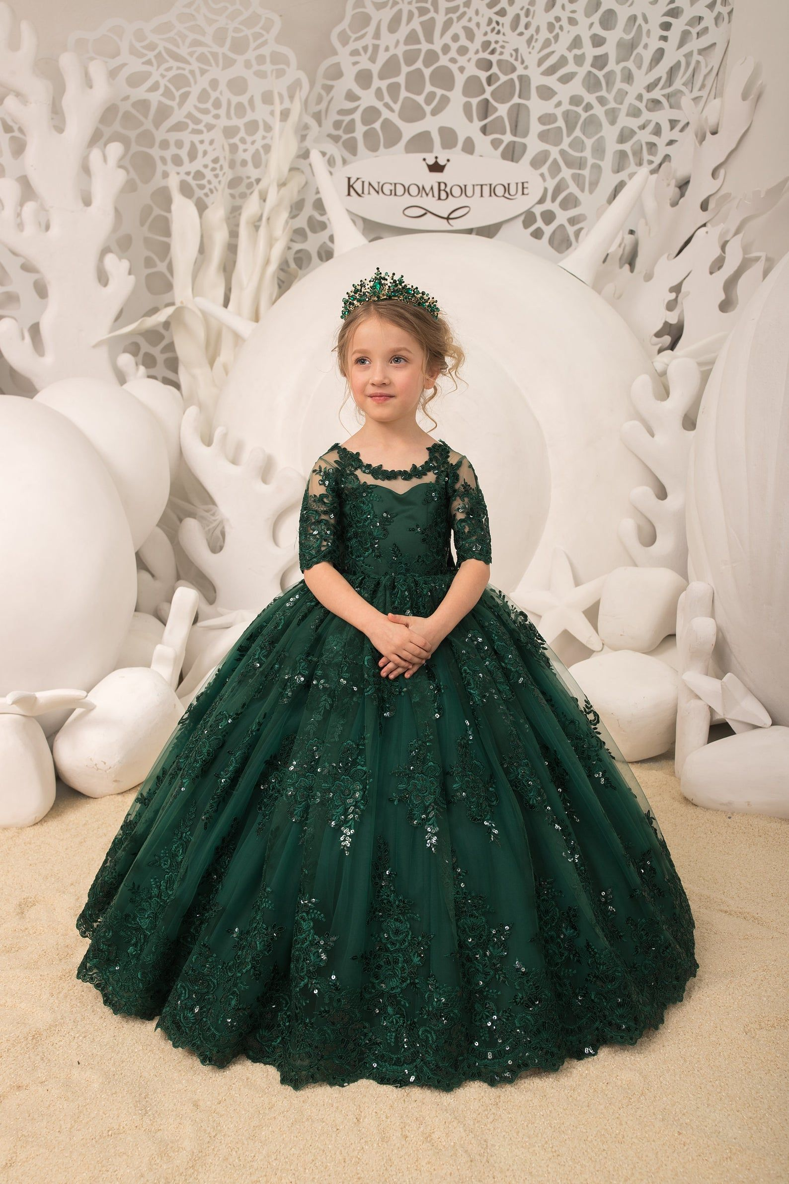 Emerald green lace tulle half sleeve formal flower girl dress