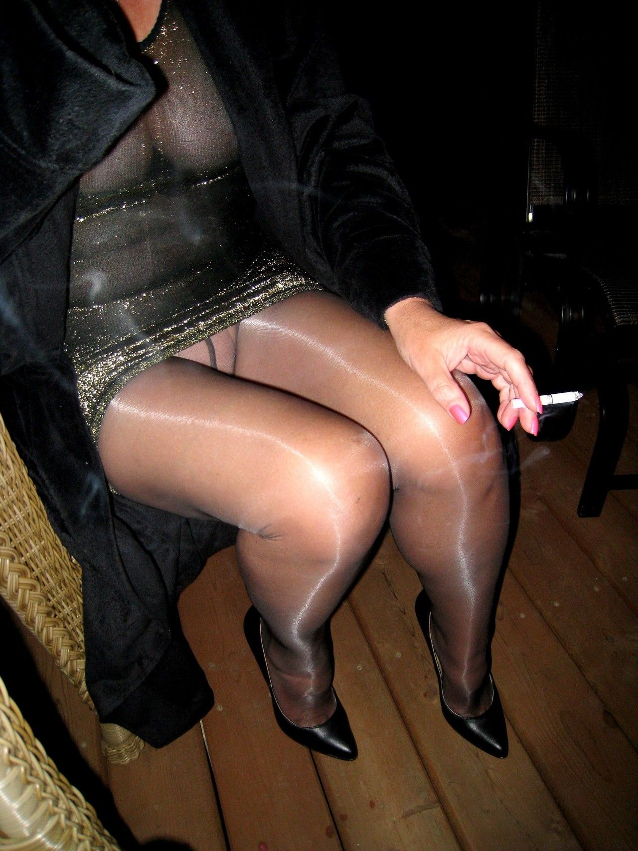 Black shiny pantyhose heels skirt