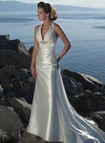 Pretty Halter V-neck Glamorous Satin Beads Working Beach Wedding Dress Sale
