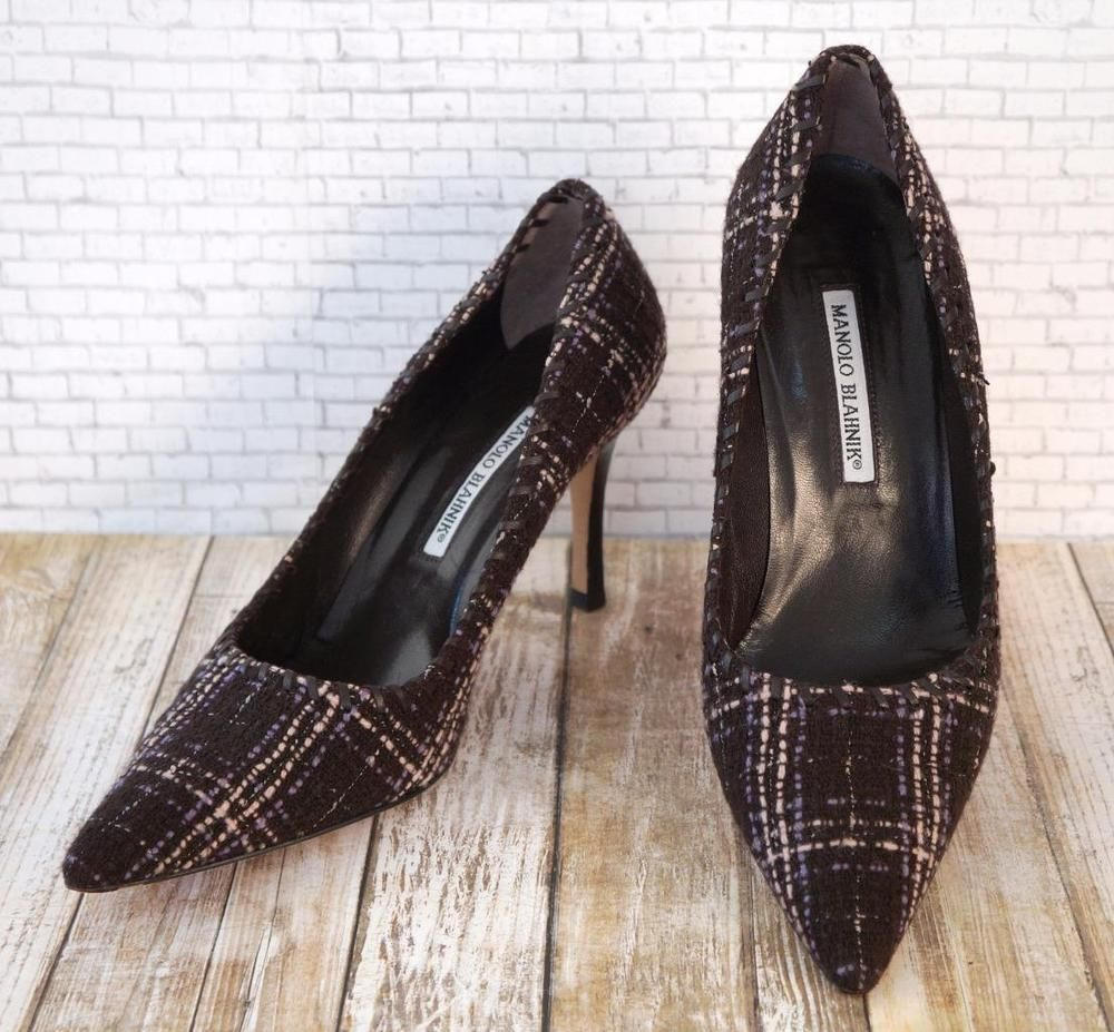 MANOLO BLAHNIK Brown Tweed Point Toe Stacked Heels Pumps 40/9.5 ~ BIZNESS CHIC…