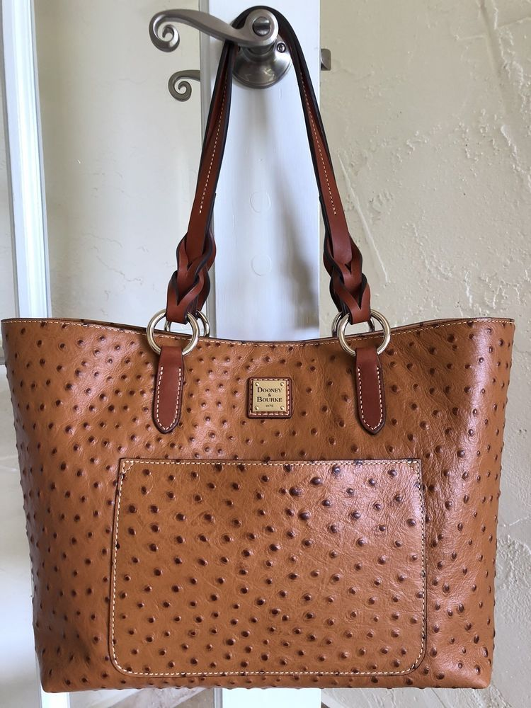 8d7f806ff Dooney & Bourke Ostrich Tammy Tote Tan Embossed Leather OT1312 | eBay
