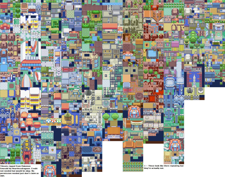 Pokemon Emerald - Exterior Tileset | Pokemon Tilesets in