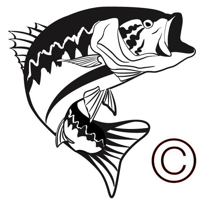 Big Mouth Bass Large Mouth Bass Vinyl Decals Fish Silhouette Fish Clipart Fish Art