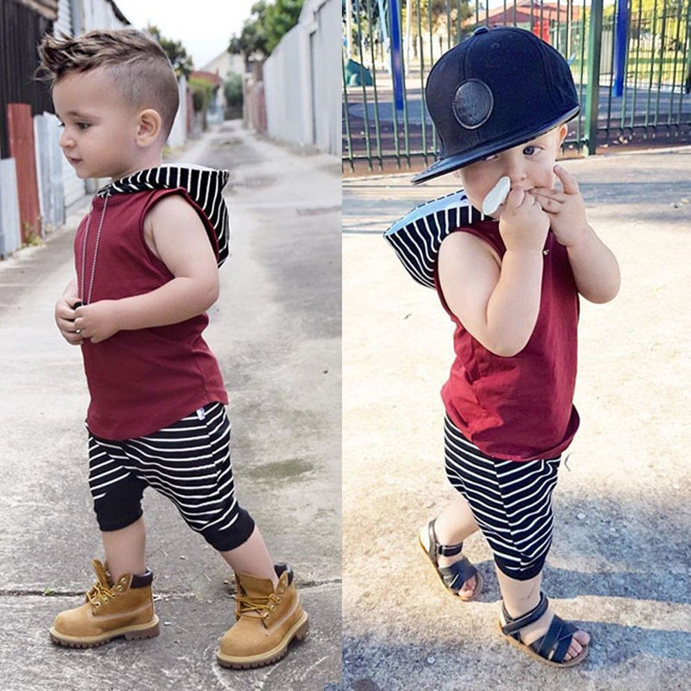 7c2a108baad8 2pcs Toddler Kids Baby Boy Hooded Vest Tops+Shorts Pants Outfits ...