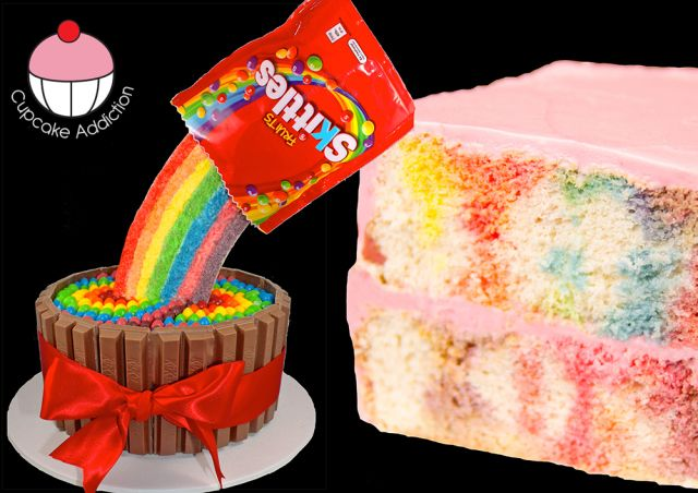 This is a cool skittles cake that I would love to make, yum!!!
