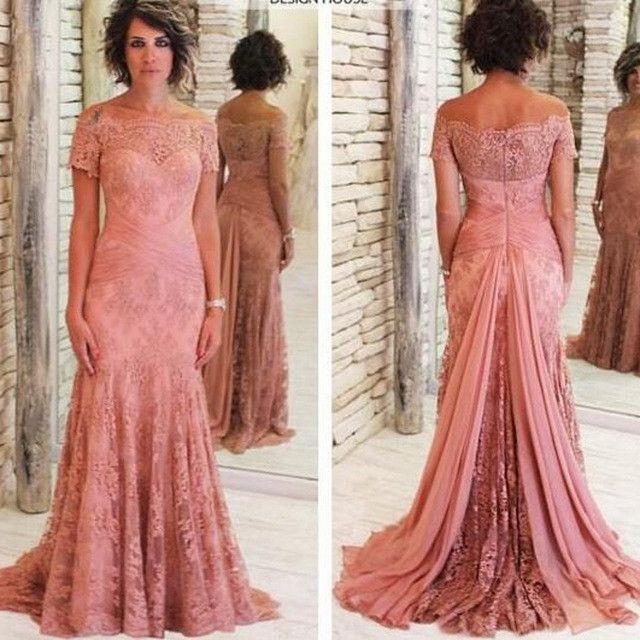 Short Sleeves Off The Shoulder Lace Elegant Long Prom Dresses ...